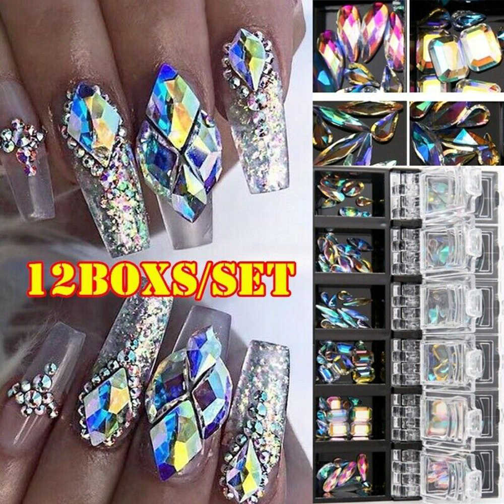 3D AB Diamond Gems Nail Glitter Rhinestone Glass 12 Boxs/Set  Crystal Nail Art Decor nail art decorations ozdoby do paznokci