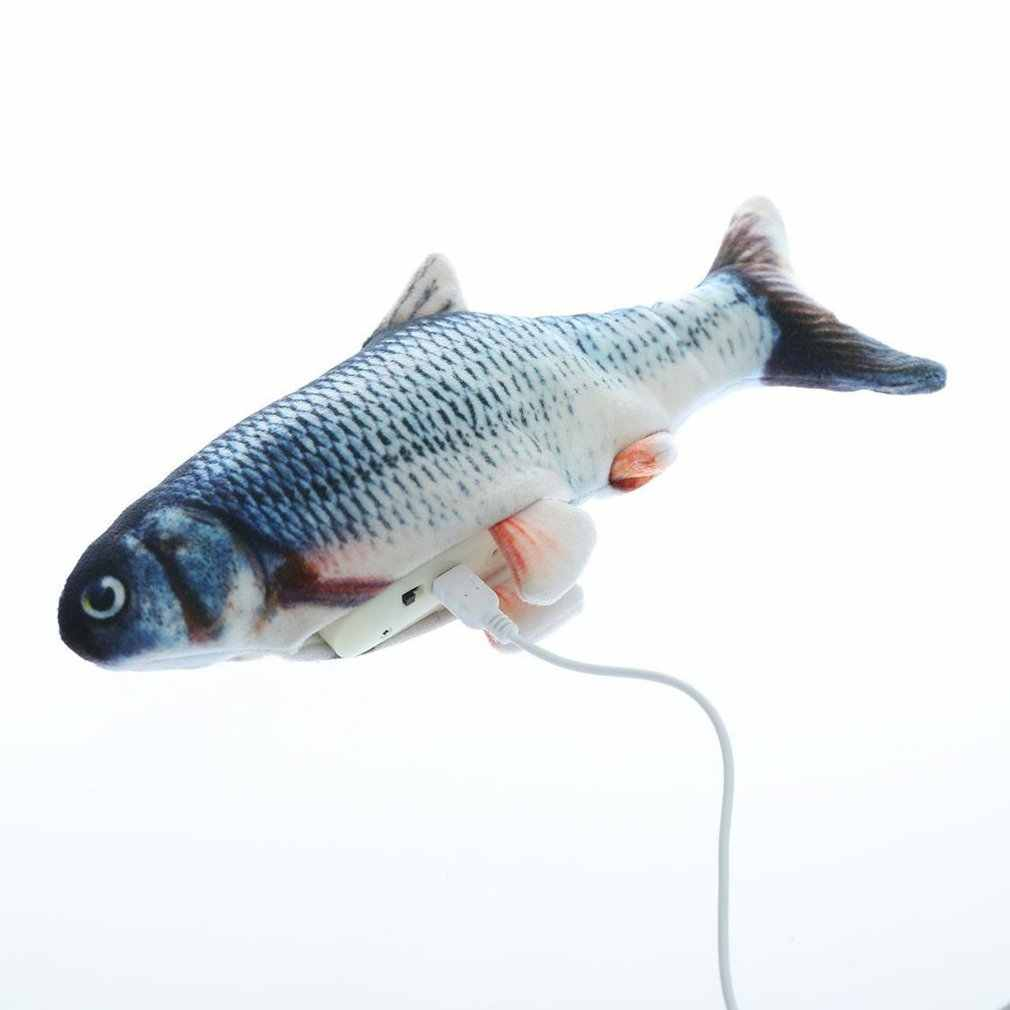 Elektryczne zabawki dla kotów pluszowa interaktywna elektroniczna odporna na ugryzienia żuć molarny ruchomy taniec zabawka-ryba kotek do ścierania pazurów