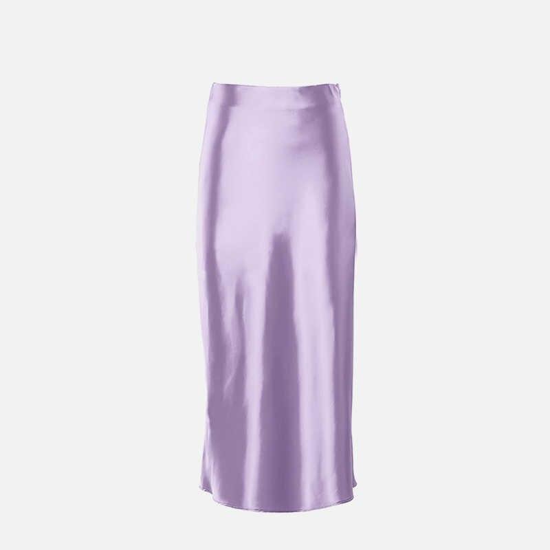 Frauen Lila Silk Satin Rock Weibliche Hohe Taille A-linie Feste Midi Röcke Damen 2020 Neue Sommer Süße Elegante mode Kleidung