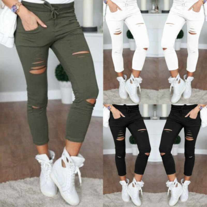 Brand New Women Army Green Leggings Hole Pencil Stretch Casual Denim Skinny Ripped Pants Lady High Waist Broken Hole Trousers