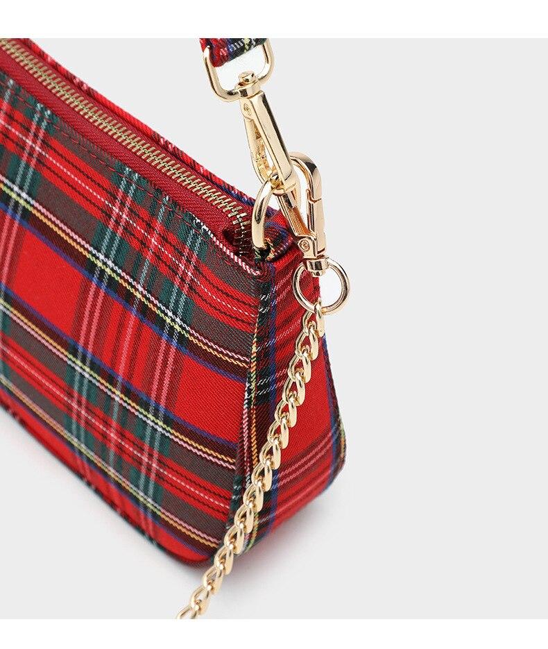 Fashion Designer Baguette Bag For Women  Red plaid Handbag High Quality Canvas Shoulder Crossbody Bag Beautiful Handbag