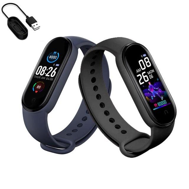M5 relógio inteligente das mulheres dos homens monitor de freqüência cardíaca pressão arterial fitness rastreador smartwatch banda 5 esporte relógio para ios android
