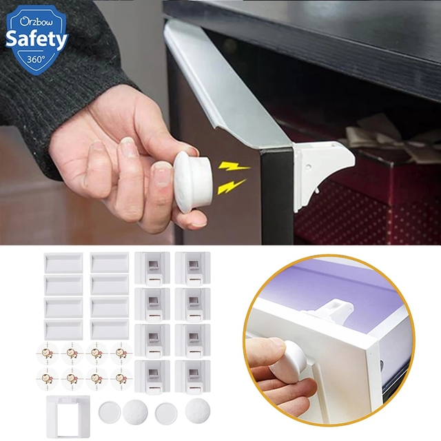 Magnetic Child Lock Baby Safety Cabinet Drawer Door Lock Children Protection Invisible Lock Kids Security 4+1/8+2 With 1 Cradle 1