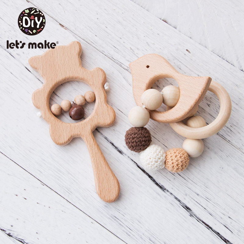 Let'S Make 2pc <font><b>New</b></font> <font><b>Born</b></font> Baby <font><b>Toys</b></font> Wooden Rattle Infant Baby Baby Rattle Personalized Pacifier Chain Rattles For 0-12 Months Kids image