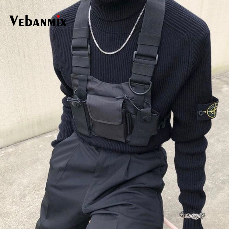 Fashion Nylon Chest Rig Bag Black Vest Hip Hop Streetwear Functional Tactical Harness Chest Rig Kanye West Wist Pack Chest Bag