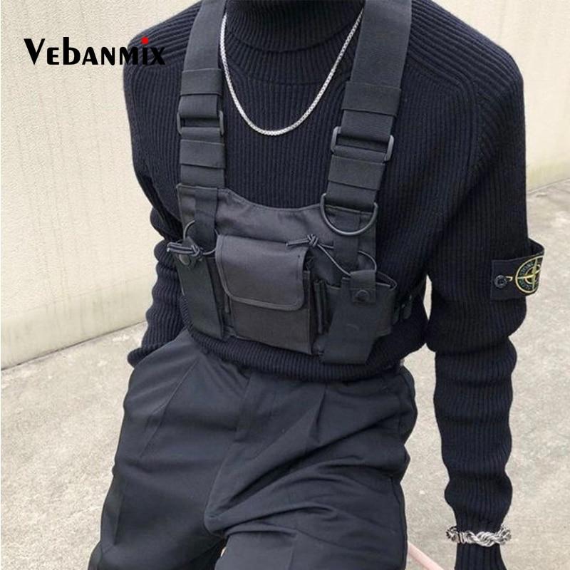 Fashion Nylon Chest Rig Bag Black Vest Hip Hop Streetwear Functional Tactical Harness Chest Rig Kanye West Wist Pack Chest Bag