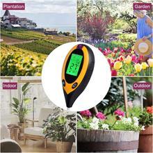 Kit de teste do solo 4 em 1 medidor ph digital para o solo com luz solar/umidade/temperatura medição tester ferramenta para jardim gramado fazenda
