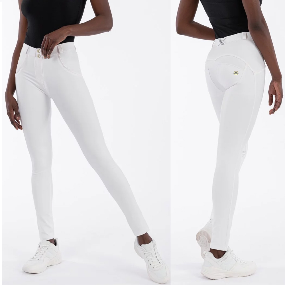 Melody White Pants Faux Leather Womens Sweatpants Long Skinny Slim Push Up Full Length Leggings Shapewear Pants Free Shipping