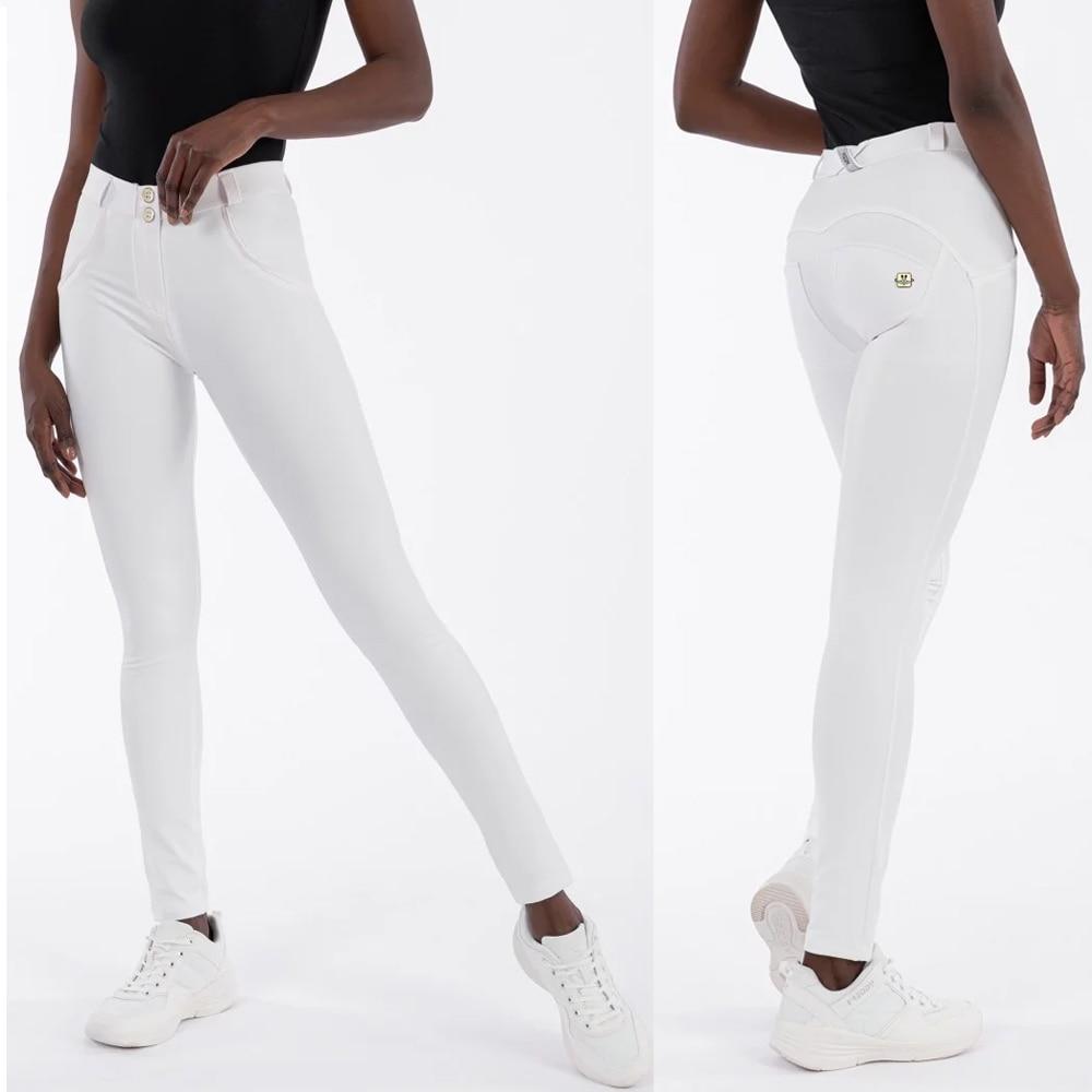 Melody White Pants Faux Leather Womens Sweatpants Long Skinny Slim Push Up Full Length Leggings Shapewear Pants Free Shipping