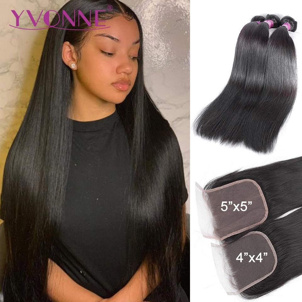 Yvonne Straight Hair Bundles with Closure 3/4 Bundles Brazilian Virgin Human Hair Weave With Lace Closure 4x4/5x5