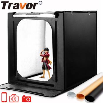 Travor składane studio fotograficzne lightbox softbox 60cm 46W 3400lm z białym żółtym czarnym oświetlenie tła Studio strzelanie namiot tanie i dobre opinie CN (pochodzenie) 60*60*60cm 5 2kg Pakiet 2 Polyester fabrics 5500K about 95 9500LM 88pcs SMD lamp US EU AU UK photo box light box light photo lightbox soft box