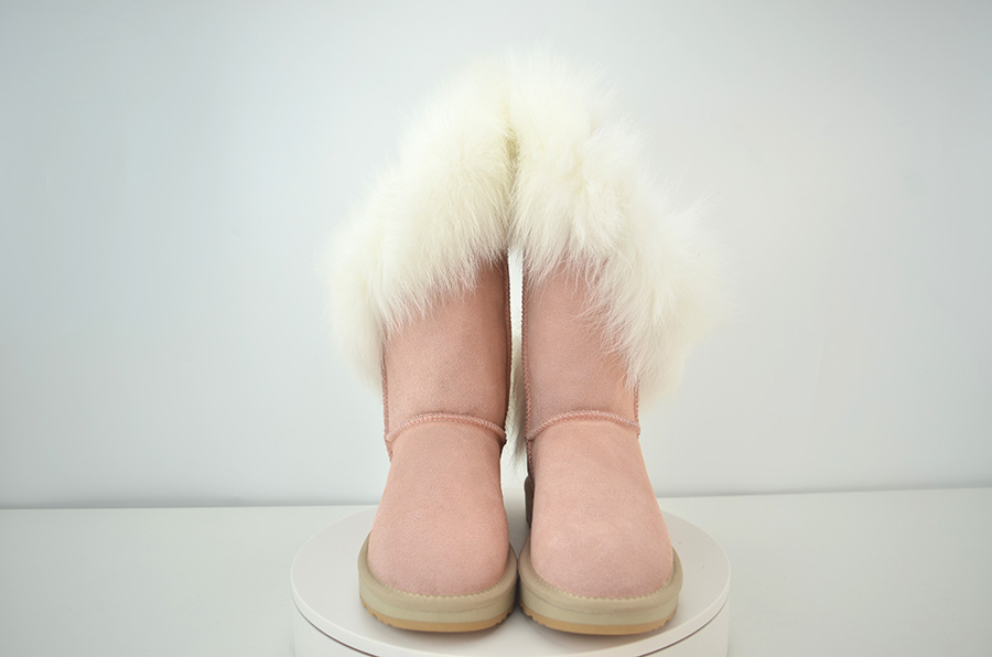 Details about  /New Cow Suede Leather Natural Fox Fur Women Winter Short Boots Snow Boots Warmer