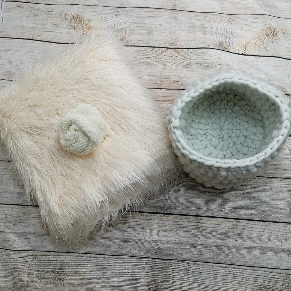 Backdrops 150 X 100 Cm Mongolia Faux Fur Long Rug Cushion+140*30cm Stretch Knit Wrap+Baby Photo Blanket Basket For Newborn Shoot