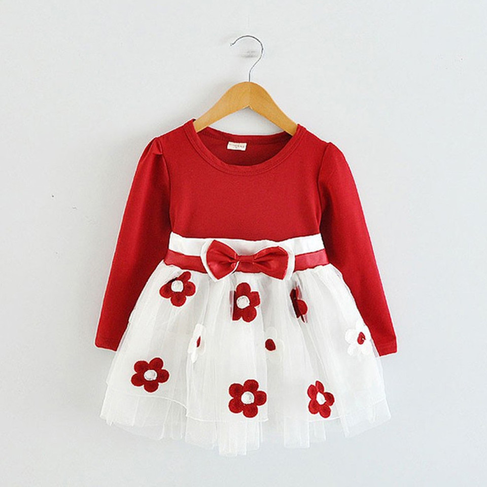 Toddler Kids Baby Girls Long Sleeve Tulle Patchwork Flower Bow Dresses Clothes