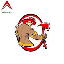 Aliauto Creative Car Sticker Individual Muscle Fireman Decoration Waterproof Decal PVC for Peugeot Skoda Volvo Lada Vw,11cm*11cm(China)