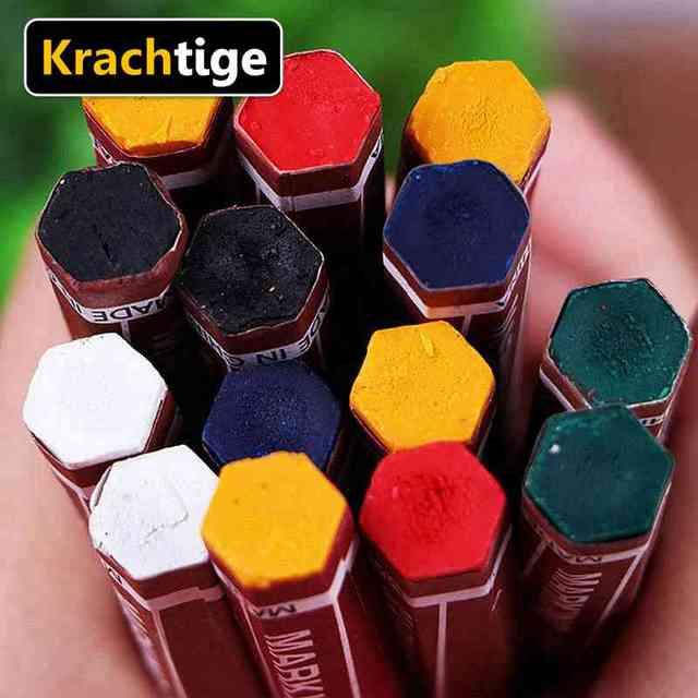 Krachtige 12pcs 6 Colors Wood Marker DIY Sprinklers Crayon Marking Dash Pen for Wood Woodworking Industrial Building Stone Steel 4