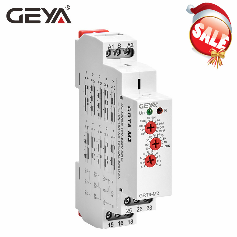 GEYA GRT8-M Adjustable Multifunction Timer <font><b>Relay</b></font> with 10 Function Choices AC DC 12V <font><b>24V</b></font> <font><b>220V</b></font> 230V Time <font><b>Relay</b></font> Din Rail image