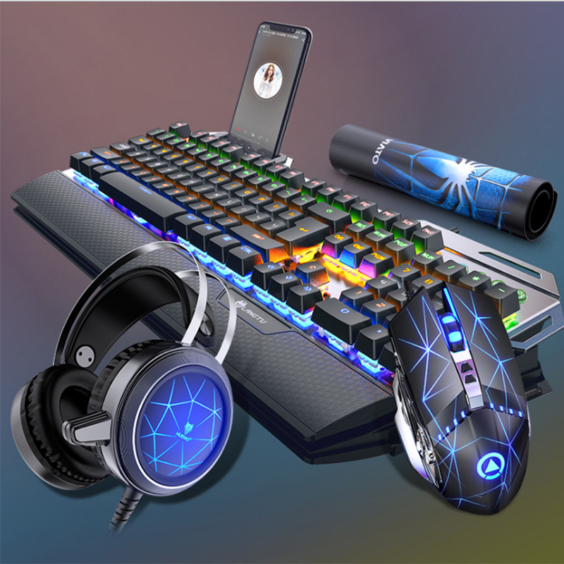 Mechanical Gaming Keyboard ,Gamer Mouse  With PC Gaming Headset,Multicolor LED Backlit USB Wired With Blue Switch,Hand Rest