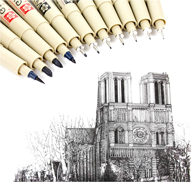 0.05~1cm Japan Needles Pen Professional Drawing  Fiber Sketch Sign Pen For Designer Architect Office School DP028