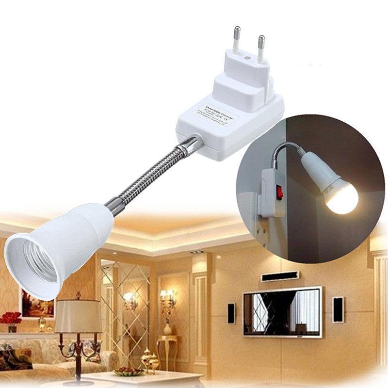 Flexible E27 Light Lamp Bulb Adapter Extend Extension Converter Wall Base Holder Screw Socket Switch EU Plug