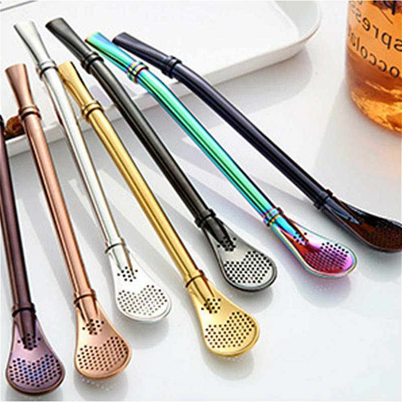 Stainless Steel Drinking Straw Spoon Tea Filter Yerba Mate Tea Straws Health Gourd Reusable Tea Tools Washable Bar Accessories