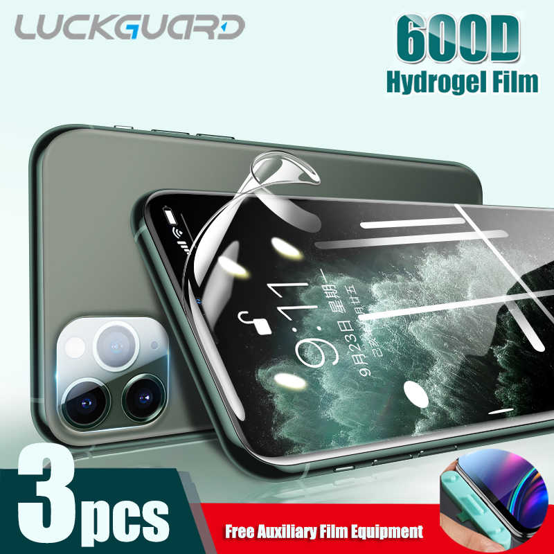 600D 3PC Melengkung Hidrogel Film Silikon Tidak Ada Kaca Film untuk iPhone 11 Pro XS Max XR X 6 6 S 7 Plus SE Screen Protector Full Cover