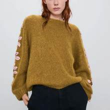ZA 2019 women sweater winter yellow knitted oversize flower decoration sleeve sweater Casual fashion female tops woman pullover(China)