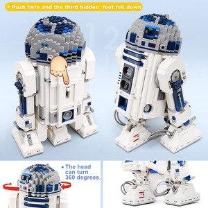 Image 4 - Lepining 05043 Star Movie Wars espacio fuera de impresión el Robot de R2 D2 bloques juguetes compatibles lepinblocks 10225