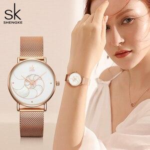 Image 2 - Shengke Vrouwen Mode Shell Creative Dial Japanse Quartz Horloge Lady Rosegoud Mesh Armband Waterdicht Horloge Montre Femme