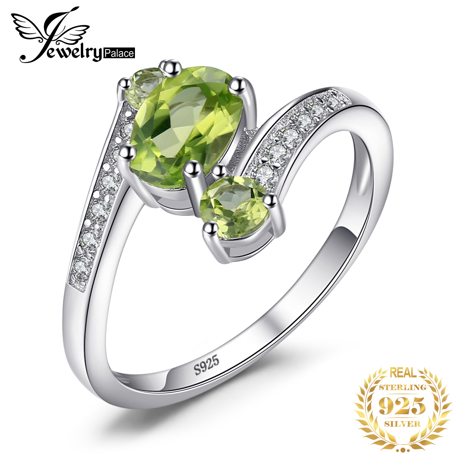 JewelryPalace 3 Stones Genuine Peridot Ring 925 Sterling Silver Rings For Women Engagement Ring Silver 925 Gemstones Jewelry
