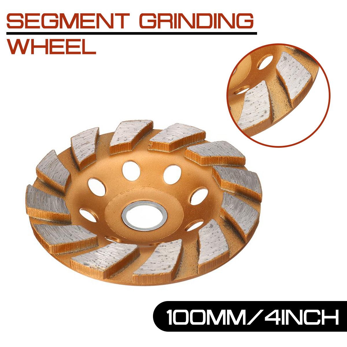 100mm/4inch Segment Grinding Wheel  HGS 8 Holes Diamond Grind Cup Disc Concrete Granite Stone Grinder DIY Power Tool