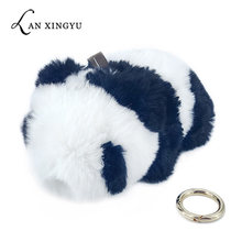 Pokemon Keychain Plush Panda Doll Key Chains Fur Pompom Pendants Bag Decoration Car Key Ring Accessories Fashion Baby Toy Gifts(China)