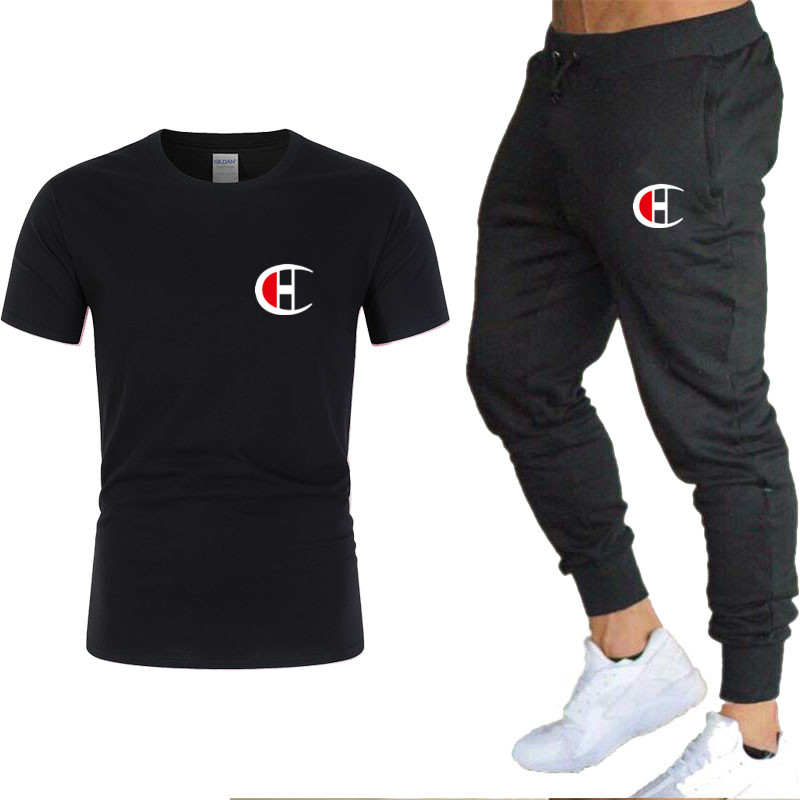 Men's Short-sleeved Sports Suit 2 T-shirts + Pants 100% Cotton Casual Running Sports Suit Spring And Summer Fitness Climbing