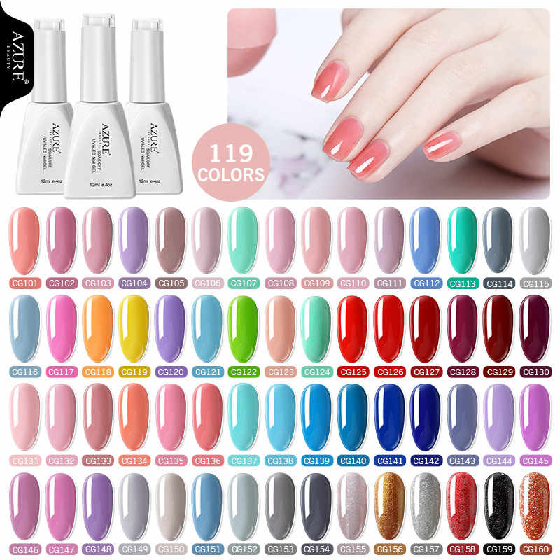 Azure Beauty 119 Warna LED Gel Nail Polish 12 Ml Nail Art Kuku Manicure UV Nail Gel Varnish Semi Permanen Hybrid bahasa Polandia Tahan Lama Gel