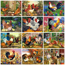 LZAIQIZG Full Square Diamond Painting Chicken Animals Diamond Embroidery Cross Stitch Mosaic Picture Of Rhinestone Home Decor
