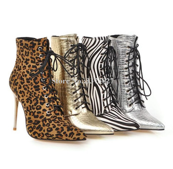 New Leopard Lace-up Ankle Boots Women Sexy Zebra-Stripe Metal Stiletto Heel Short Boots Lady Snakeskin Leather Banquet Booties