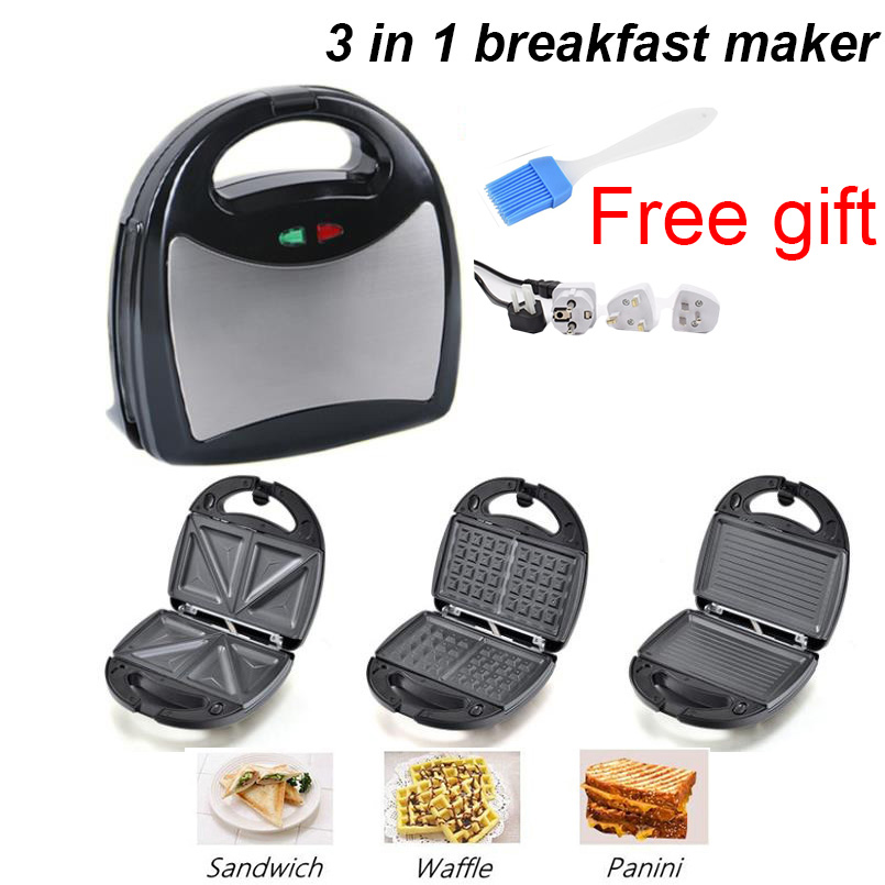 220V Multifunctional Electric Mini Nut Waffle Sandwich Maker Panini BBQ Grilling Machine 3 In 1 Breakfast Maker Cake Maker