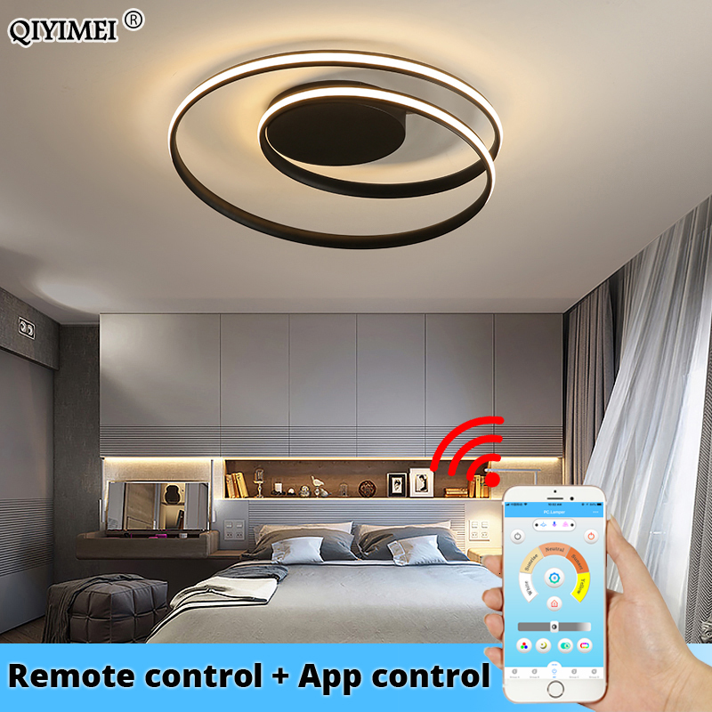 الثريات الحديثة LED مصباح لغرفة المعيشة غرفة نوم غرفة الدراسة أبيض أسود اللون سطح شنت أضواء مصباح ديكو AC85-265V