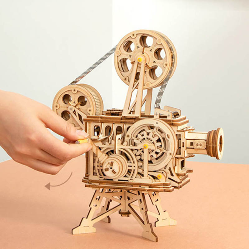 Classic Projectors Wood Crafts DIY Model Building Kits Retro 3D Wooden Puzzle Toys Interactive Gifts Decor For Adults Children