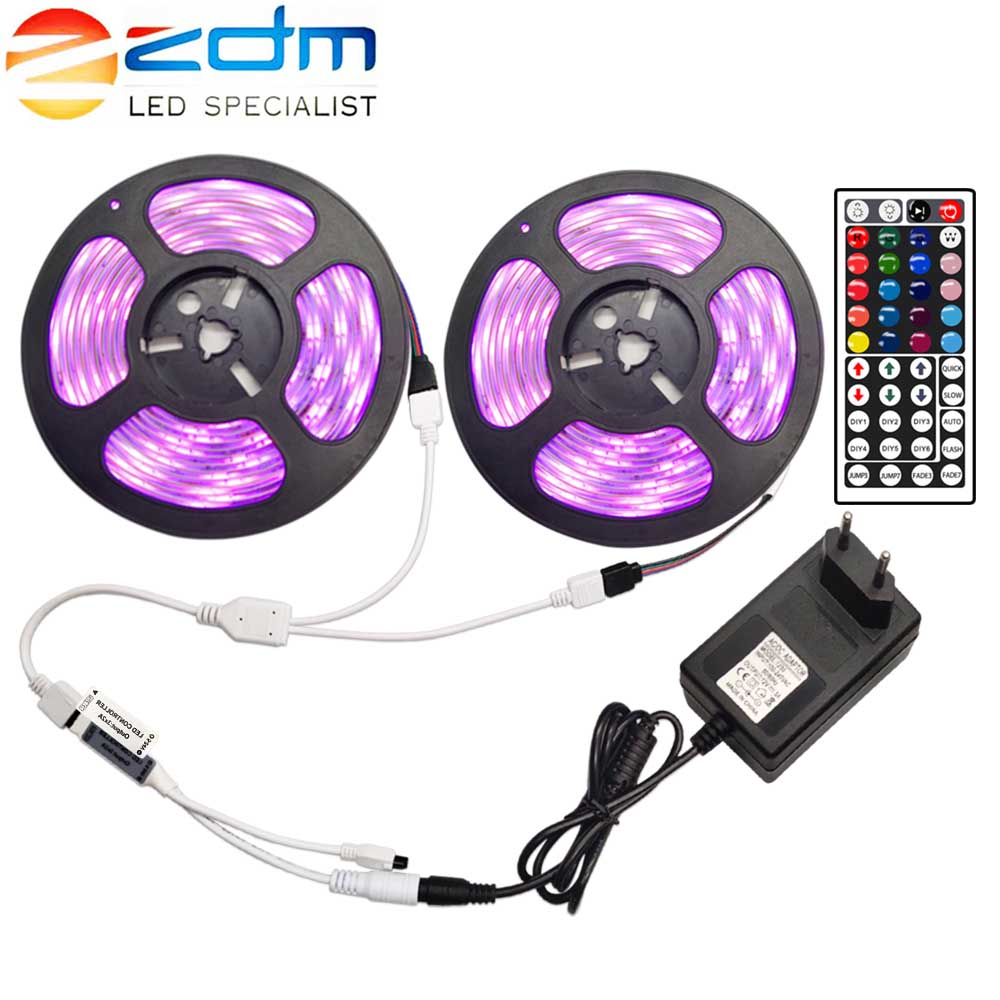 ZDM LED Strip 12V Ribbon LED Light Strip RGB Tape SMD 5050 2835 Flexible 5M 10M Diode Tape With Remote Backlight For TV