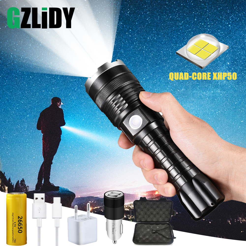 Powerful XHP50 LED Flashlight USB Charging Waterproof Zoom <font><b>4</b></font> Modes Tactical Torch Outdoor hunting light Using <font><b>26650</b></font> Battery image