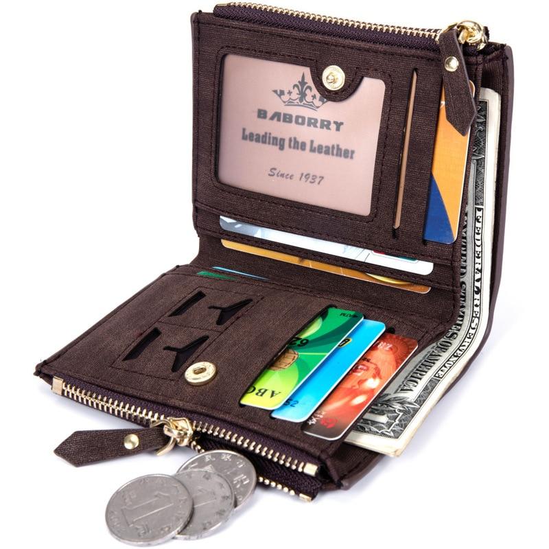 Vintage Men Wallet RFID Theft Protect Coin Bag Zipper Purse Wallets for Men with Zippers Magic Wallet Short Luxury Men's Purses 2