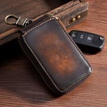 TIDING кошелек для ключей из натуральной кожи темно-коричневый Винтажный стиль держатель для карточки-ключа для мужчин и женщин
