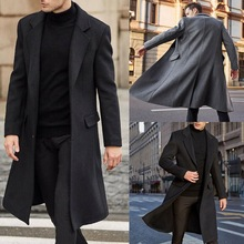Male Coat Woolen Casual-Style Double-Breasted Men Full for Capsule V-Neck Basic Loose