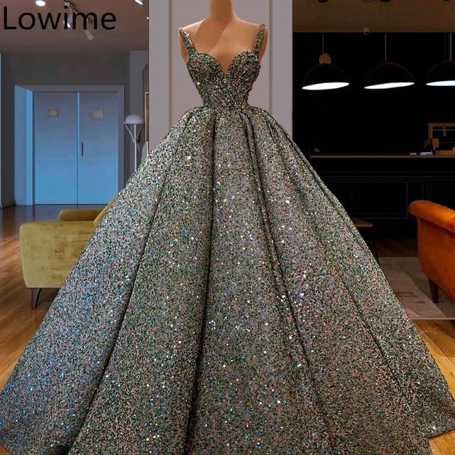 Yeni moda Glitter balo kıyafetleri 2019 uzun türk Couture arapça Abendkleider spagetti Vestidos De Gala muhteşem abiye