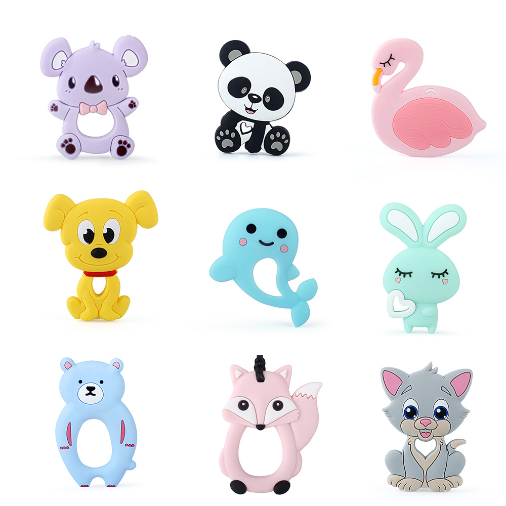 Keep&Grow 1pc Baby Silicone Teethers BPA Free Teething Toy Animals Koala Bear Dog Teether Silicone Beads DIY Necklace Making