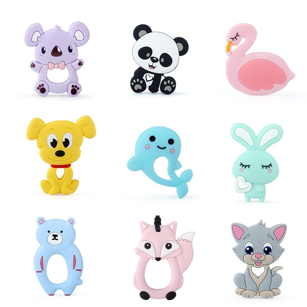 Keep&Grow 1pc Baby Silicone Teethers BPA Free Teething Toy Animals Koala Bear Dog Teether Silicone Beads DIY Necklace Making