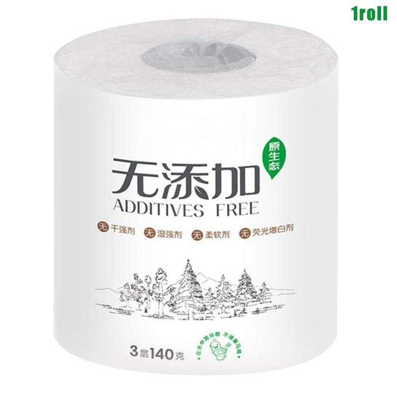 1 Roll 3-ply Toilet Paper Home Roll Paper Soft Skin-Friendly Bathroom Paper Tissue White New HJL2019
