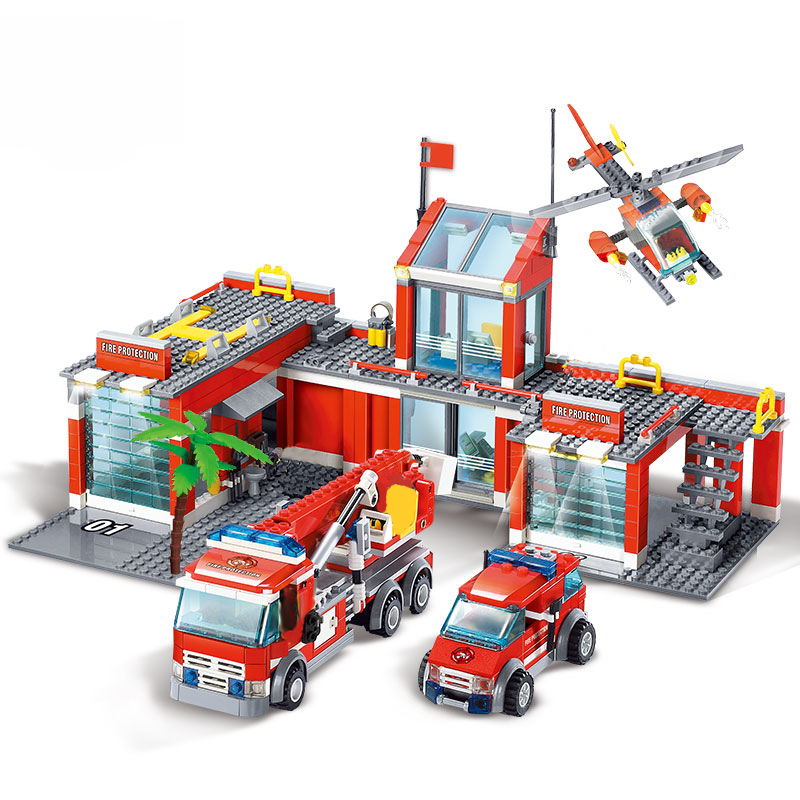 <font><b>8051</b></font> Fire Station Model Blocks Compatible Lepining City Building Blocks Plastic DIY Bricks Educational Toys For Children Gift image