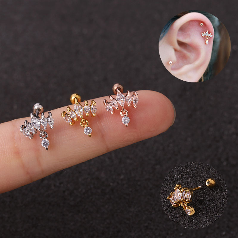 Feelgood 1Pc New Cz Crown Tragus Cartilage Dangle Earring 20g Stainless Steel Helix Conch Rook Lobe Ear Piercing Jewelry